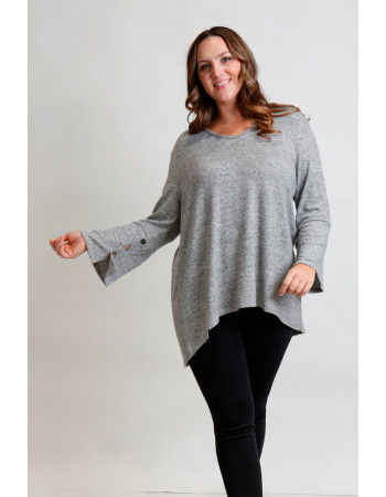 Cozy Knit V Neck Button Cuff Curve - H.grey