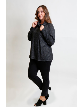 Cozy Knit Cowl Neck Raglan Long Sleeve Curve - Charcoal