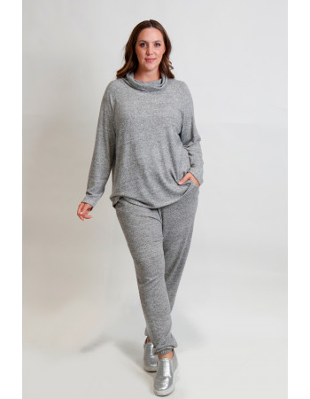 Cozy Knit Cowl Neck Raglan Long Sleeve Curve - H.grey