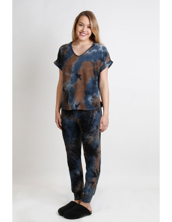 TIE DYE COZY V NECK ROLLED SLEEVE - TAUPE MULTI