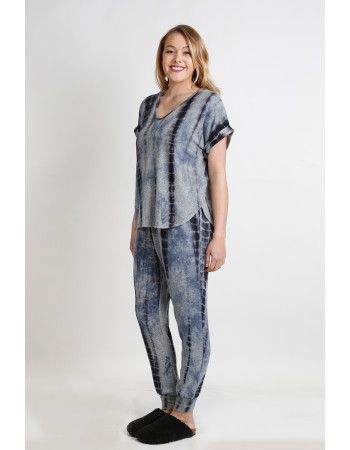 TIE DYE COZY V NECK ROLLED SLEEVE - H.GREY / INDIGO / GREY