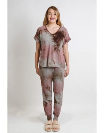 TIE DYE COZY V NECK ROLLED SLEEVE - MAUVE / BROWN
