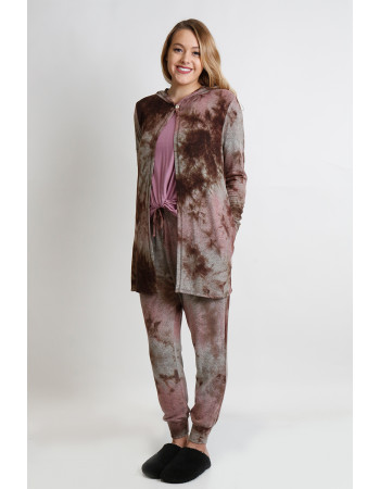 TIE DYE COZY ONE BUTTON HOODIE POCKET CARDI - MAUVE / BROWN