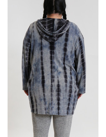 TIE DYE COZY ONE BUTTON HOODIE POCKET CARDI CURVE - H.GREY / INDIGO / GREY