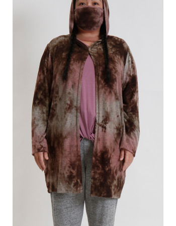 TIE DYE COZY ONE BUTTON HOODIE POCKET CARDI CURVE - MAUVE / BROWN