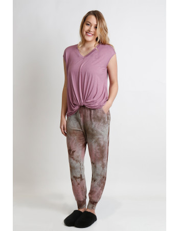TIE DYE COZY JOGGER - MAUVE / BROWN