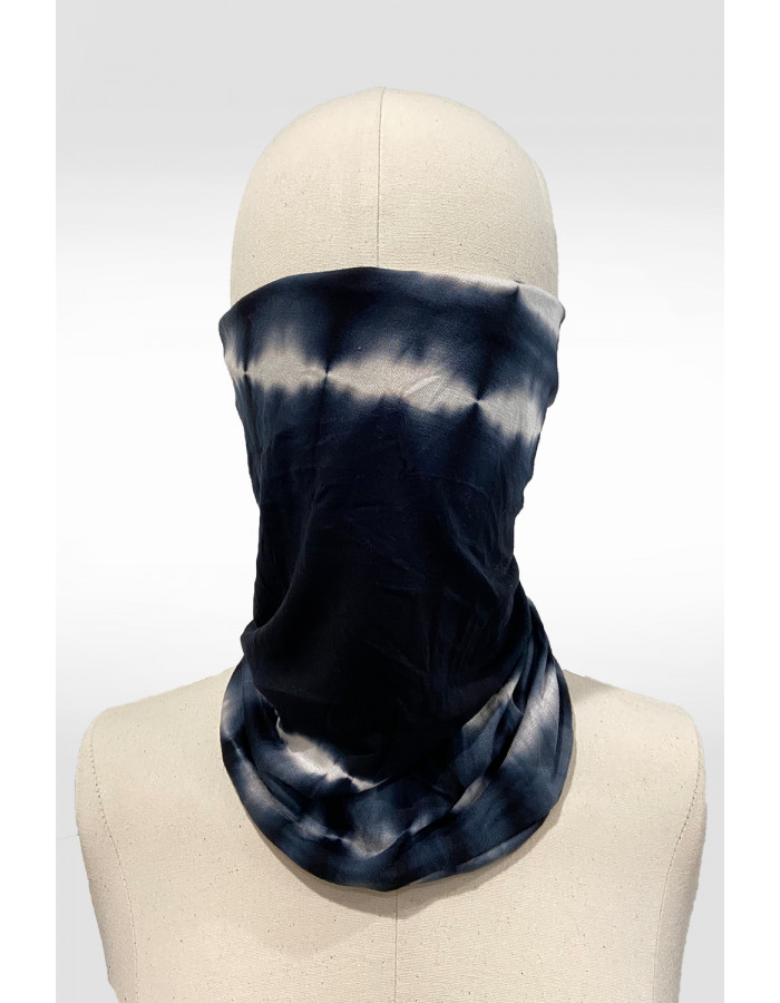 Tie Dye 2-Way Face/Head Cover - Black/White