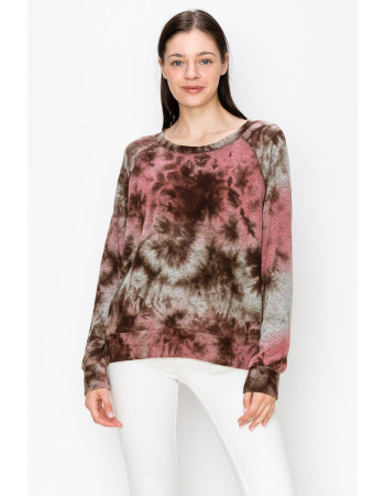 Tie Dye Cozy Sweatshirt - MAUVE / BROWN