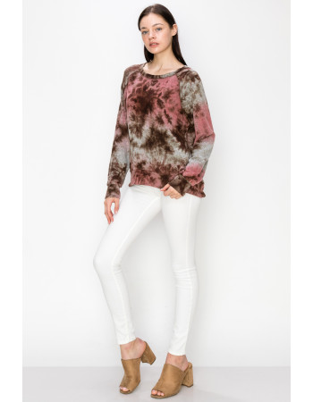 Tie Dye Cozy Sweatshirt - MAUVE / BROWN