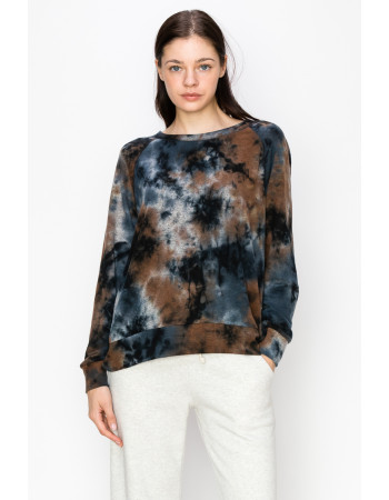 Tie Dye Cozy Sweatshirt - TAUPE MULTI