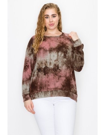 TIE DYE COZY SWEATSHIRT CURVE - MAUVE / BROWN