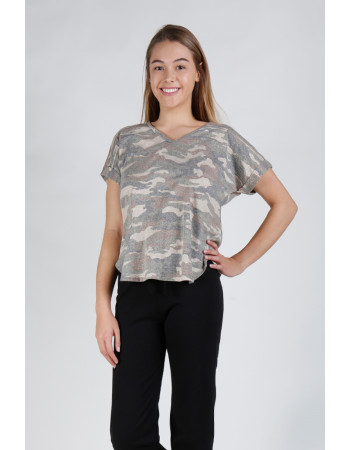 CAMO Q-BLEND V NECK ROLLED SLEEVE