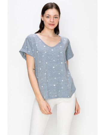 STAR Q-BLEND V NECK ROLLED SLV - DENIM