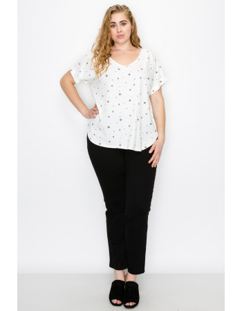 STAR Q-BLEND V NECK ROLLED SLV CURVE - IVORY