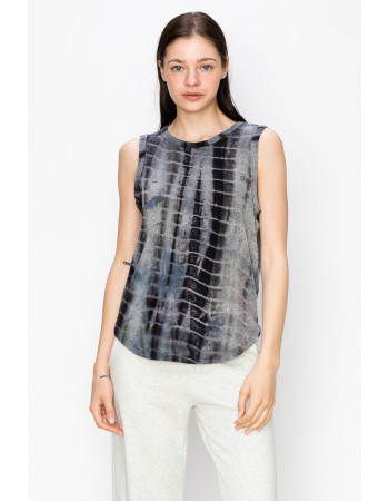 Tie Dye Cozy Curved Hem Tank Top - H.GREY / INDIGO / GREY