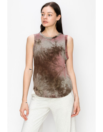 Tie Dye Cozy Curved Hem Tank Top - MAUVE / BROWN