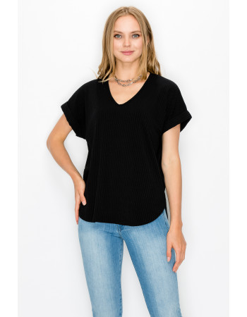 RIB V NECK ROLLED SLEEVE - BLACK