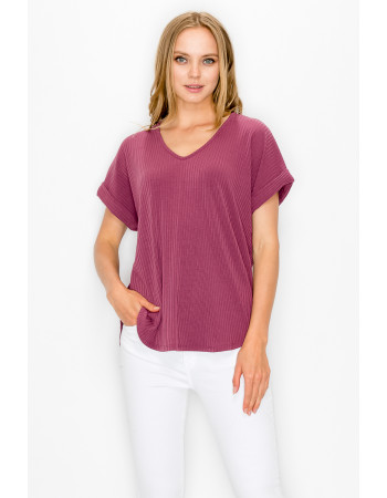 RIB V NECK ROLLED SLEEVE - RAISIN