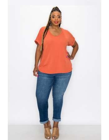 VARIEGATED RIB V NECK ROLLED SLEEVE CURVE - ORANGE