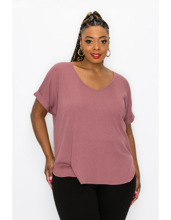 VARIEGATED RIB V NECK ROLLED SLEEVE CURVE - RAISIN