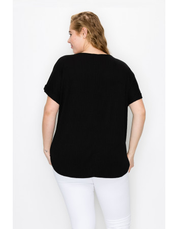 RIB V NECK ROLLED SLEEVE CURVE - BLACK
