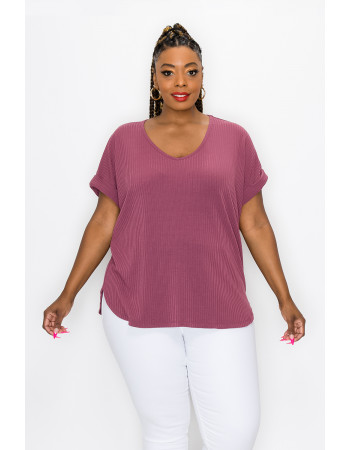 RIB V NECK ROLLED SLEEVE CURVE - RAISIN