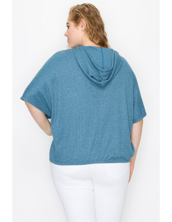 THERMAL SHORT SLEEVE BATWING HOODIE - BLUE