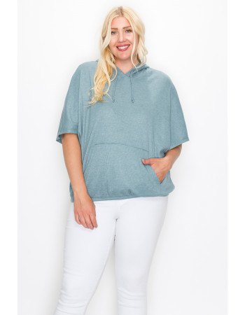 THERMAL SHORT SLEEVE BATWING HOODIE CURVE - MINERAL BLUE