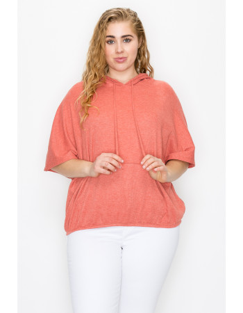 THERMAL SHORT SLEEVE BATWING HOODIE CURVE - PAPAYA