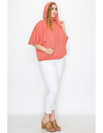 THERMAL SHORT SLEEVE BATWING HOODIE - PAPAYA