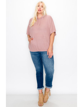 THERMAL SHORT SLEEVE BATWING HOODIE CURVE - MAUVE PALE