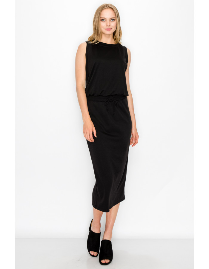 FRENCH TERRY CROPPED TANK - BLACK