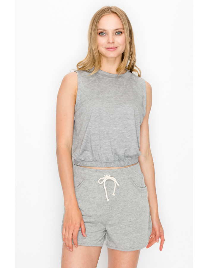 FRENCH TERRY CROPPED TANK - H.GREY