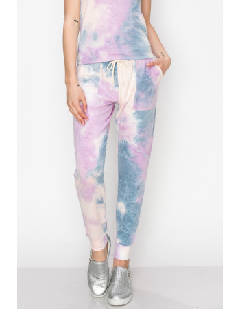 TIE DYE FRENCH PATCH POCKET JOGGER - DENIM / LILAC / BLUSH