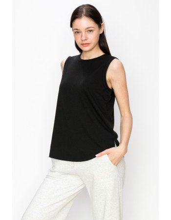 FRENCH TERRY SIDE SLIT TANK - BLACK