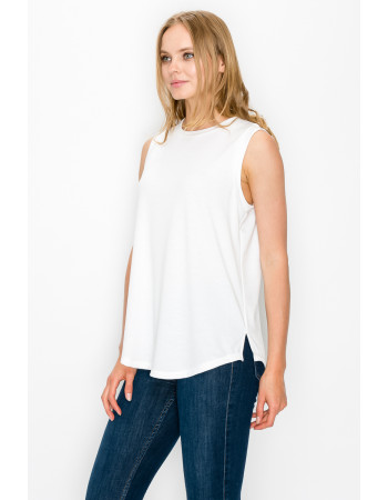 FRENCH TERRY SIDE SLIT TANK - WHITE