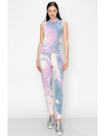 TIE DYE FRENCH TERRY MCOK NECK TANK - DENIM / LILAC / BLUSH