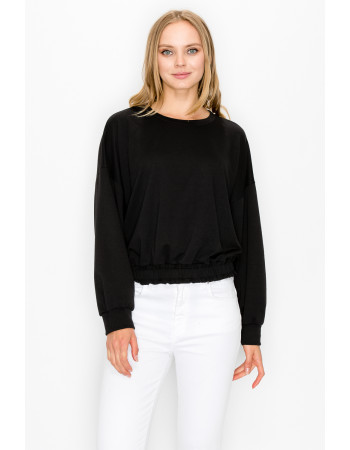 FRENCH TERRY ELASTIC BAND LONG SLEEVE - BLACK