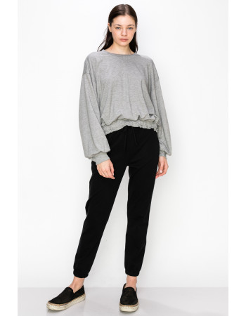 FRENCH TERRY ELASTIC BAND LONG SLEEVE - H.GREY