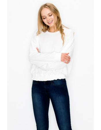 FRENCH TERRY ELASTIC BAND LONG SLEEVE - WHITE