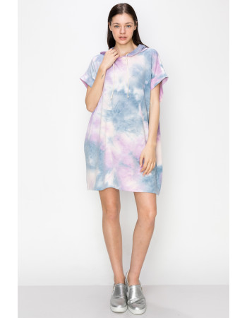 TIE DYE FRENCH TERRY HOODIE TUNIC DRESS - DENIM / LILAC / BLUSH
