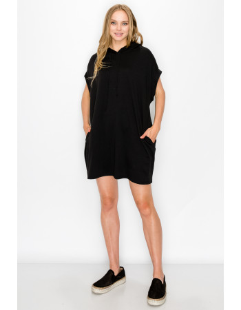 FRENCH TERRY HOODIE TUNIC DRESS - BLACK