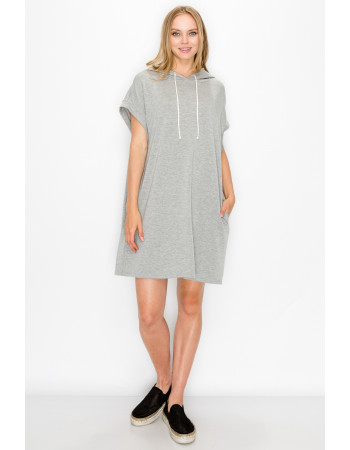 FRENCH TERRY HOODIE TUNIC DRESS - H.GREY