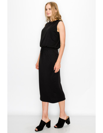 FRENCH TERRY MIDI SKIRT - BLACK