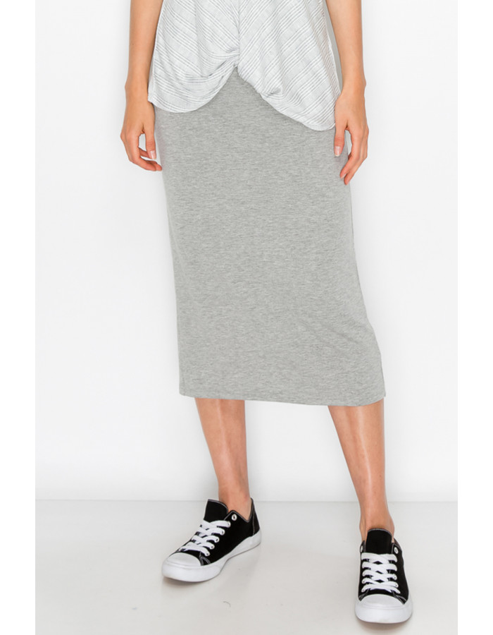 FRENCH TERRY MIDI SKIRT - H.GREY