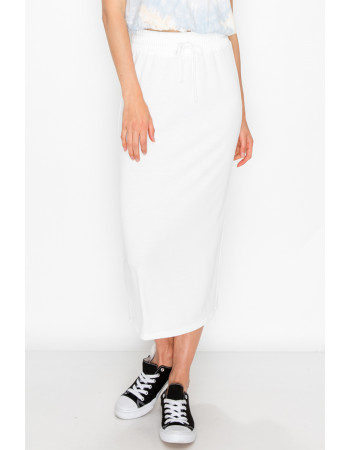 FRENCH TERRY MIDI SKIRT - WHITE