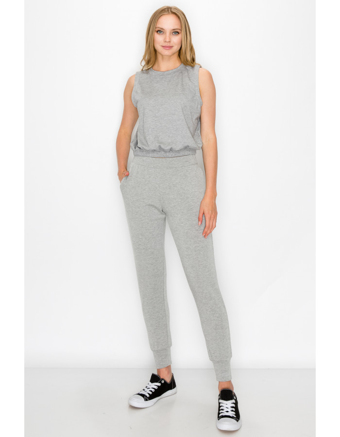 FRENCH TERRY SIDE & BACK POCKET JOGGER - H.GREY