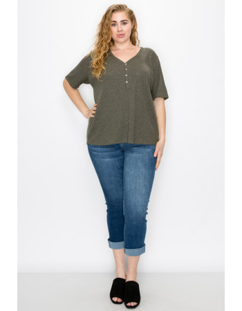 THERMAL SHORT SLEEVE V NECK HENLEY CURVE - OLIVE