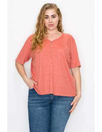 THERMAL SHORT SLEEVE V NECK HENLEY CURVE - PAPAYA
