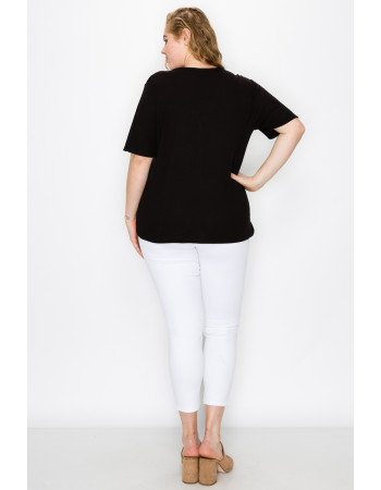 THERMAL SHORT SLEEVE V NECK HENLEY CURVE - BLACK